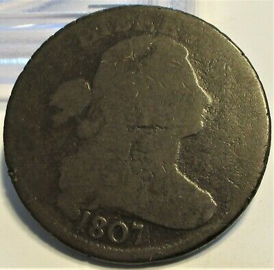1807 Draped Bust Large Cent **Vg** Rare Us Coin.