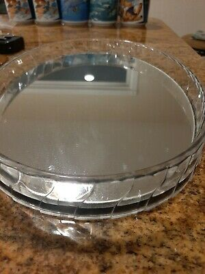 "VINTAGE OVAL MIRRORED VANITY DRESSER PERFUME Tray Acrylic/ Plastic?? 9 ""by 13"""
