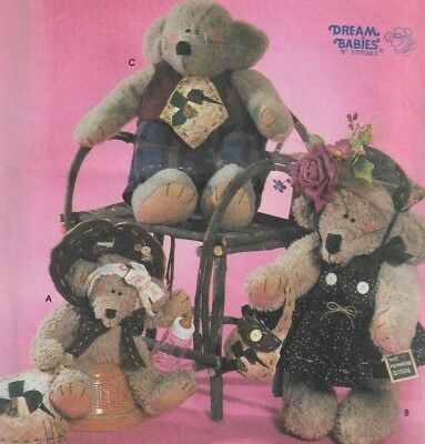 "Dream Babies Simplicity Crafts Pattern #7355-22"" 7 14"" Bear Dolls & Clothes"