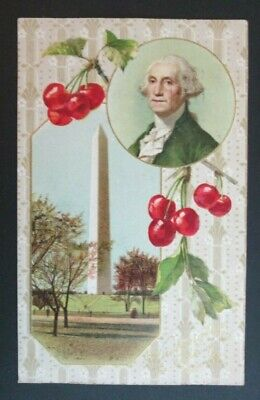 Washington Father of His Country Patriotic Winsch Back EMB Postcard 1909