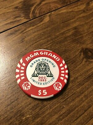 $5 mgm 1993 grand opening las vegas nevada  casino chip shipping is 3.99
