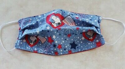 Face Mask Handmade Cotton Fabric ADULT Washable Patriotic SNOOPY Elastic Loops
