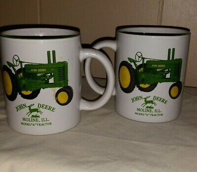 John Deere Model A Tractor Moline IL (2) Tea Coffee Mug Cup EUC Licensed Product