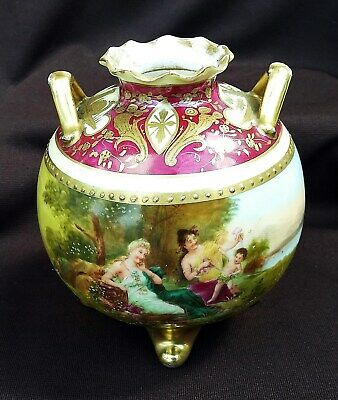 NR 19th C Royal Vienna Porcelain RARE PILLOW VASE Signed - Footed & Beehive Mrk