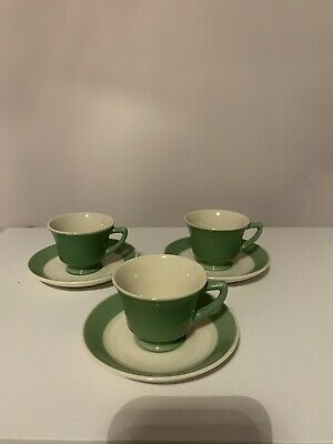 Vintage Syracuse China O.P.CO Old Ivory GREEN Demitasse Cups & Saucers~Set of 3