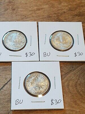 Lot Of 3 Silver German 1 Mark Coins, Gorgeous BU Better Dates