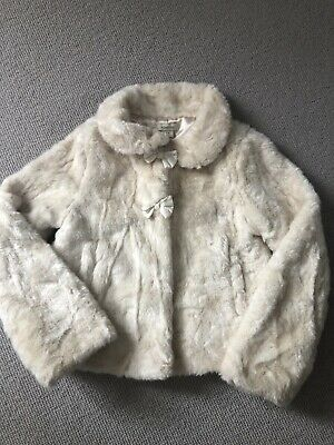 Monsoon Girls Cream Faux Fur Coat Age 7-8 Years