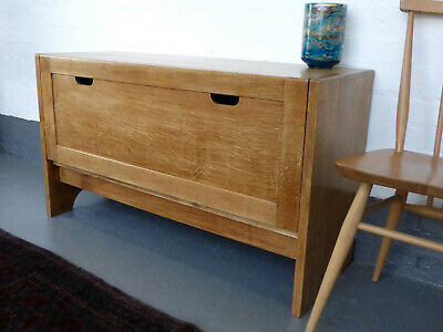 Solid Golden Oak wide Record Cabinet double 1 of 2 vintage tiger
