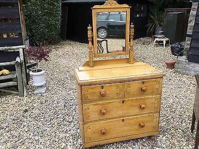 Victorian Edwardian Painted Pine Chest Of Drawers Dressing Chest Bedroom