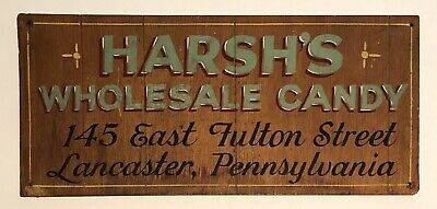 Harsh's Wholesale Candy Original Wood Hand Painted Trade Sign Lancaster PA 1930s