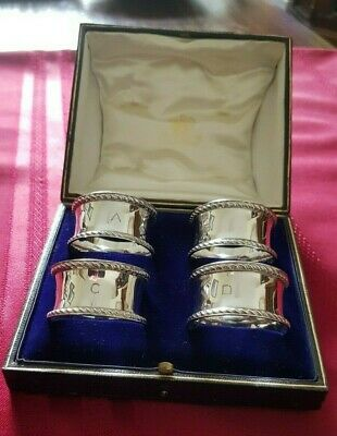 A Stunning Set Of Four Solid Silver Napkin Rings By Elkington.1921.