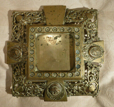 Antique Brass Display Stand Square Cameos Pierce Work for Inkwell/ Clock/ etc