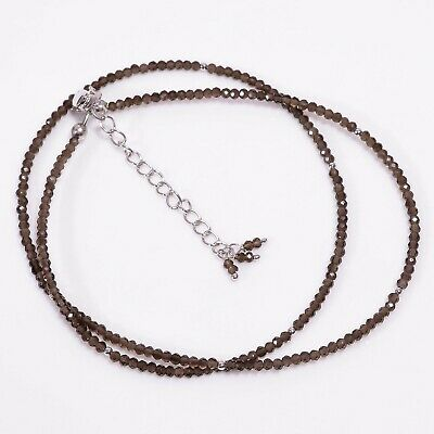 """AAA+ Natural Smoky Quartz Round Shape Faceted Beads Necklace 17-19"""" P-826"""