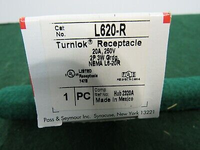Pass & Seymour L620-R Turnlok Single Receptacle 3Wire 20amp 250V