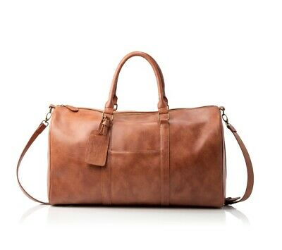 New CLV Personalized Vegan Leather Transport Duffle Bag Brown Travel Bag