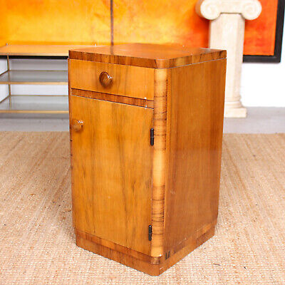 Vintage Art Deco Walnut Bedside Cabinet Table 1940s