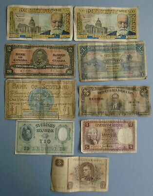 Collection of NINE Vintage Foreign Bank Notes - Europe, Canada & Carribean