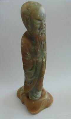 """Antique Soapstone Chinese Carved Figure - Sanxing Deity - 8"""" Tall"""