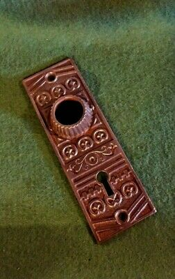Vtg Antique Raised Collar Eastlake Fancy Ornate Cast Iron Door Knob Back Plate
