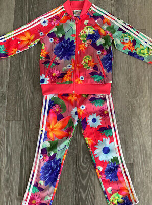Girls Adidas Flower Tracksuit Age 3-4