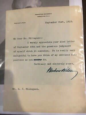 President Woodrow Wilson Signed Letter Passed Psa DNA Quick Opinion Princeton