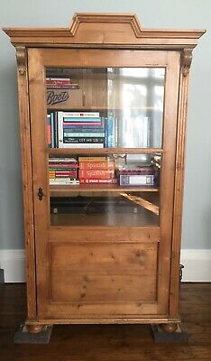 Antique Pine Freestanding Glass Fronted Bookcase / Cupboard