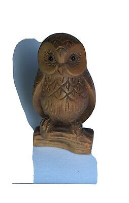 Japanese NETSUKE carved wooden owl on a branch, beautiful detail