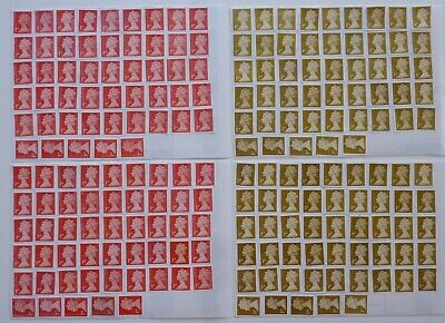 GB - 100 x 1st Class SA Red / Gold Definitive(FV £76) Unfranked Stamps Off Paper