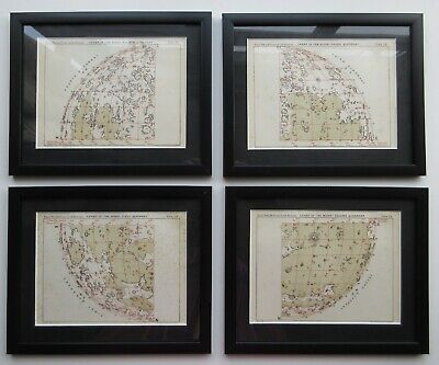 Chart of the Moon in Four Quadrants c1871 framed