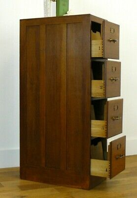 1930s Vintage Antique English Oak 4 Drawer Filing Cabinet Panelled Sides