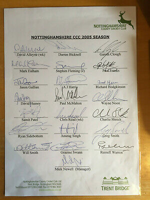 2005 Signed by all 22 Nottinghamshire CCC Team Sheet Fleming D Hussey Swann Noon