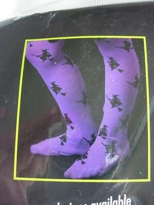 PURPLE TIGHTS WITH WITCHES  AGED  7/10  YEARS OLD  (great 4 fancy dress)