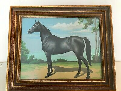"""Vintage Paint By Number Black Stallion Horse Framed Picture Wall Hanging 18"""""""