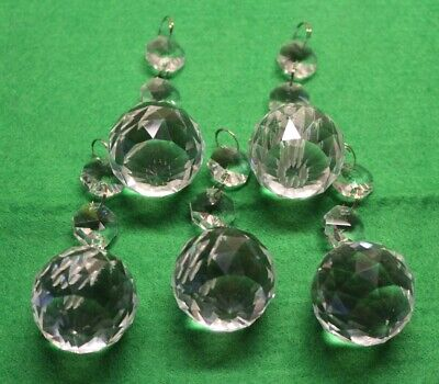 5 X Chandelier Light Crystals Droplets Glass Balls & Beads Drops Prism