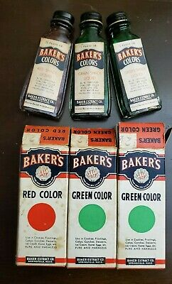 Vintage Lot 3 Baker's Food Color Coloring Bottles Original Boxes Springfield USA