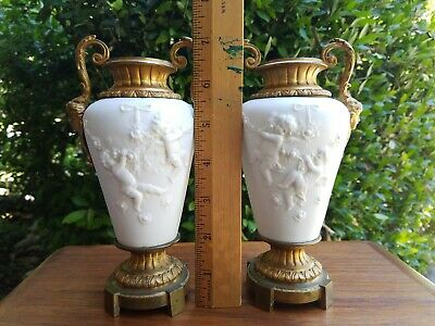 Pair Antique French Old Parian White Bisque Porcelain Gilt Bronze Mounted Vases