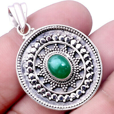 Antique - Nephrite Jade - Canada 925 Sterling Silver Pendant Jewelry SDP50147
