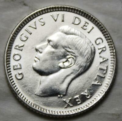 Canada 1950 Silver 10 Cents, Brilliant Uncirculated, Old Date KGVI
