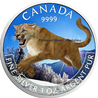 2016 Canada Cougar 1 Ounce Silver Winter - Colorized Series!