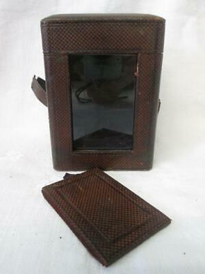 Antique Victorian Morocco Leather Carriage Clock Case inc Glass