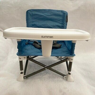 Summer Infant Pop 'n Sit Portable Booster Chair Foldable with Carrying Bag, Blue