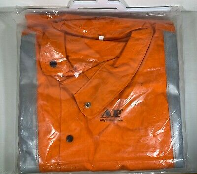 Reflective Orange Flame Resistant Welding Jacket - Leather Sleeves - Large - New