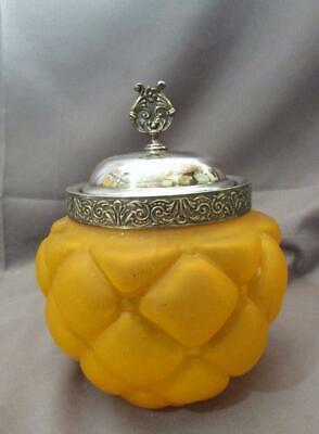 Unusual Antique Victorian Cracker Jar Biscuit Jar Florette Pattern Orange Glass