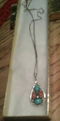 Turquoise and Coral Sterling Pendant with Chain