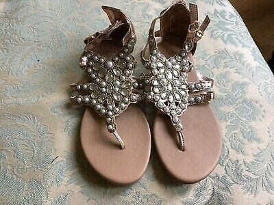 💕Stunning Girls River Island Sandals With Pearls Uk 3