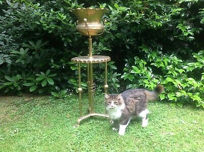 Stylish Aesthetic Movement Brass Jardinere And Stand