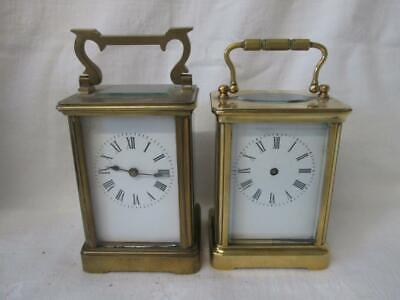2 x Antique English/French Brass Cased Carriage Clocks for Repair