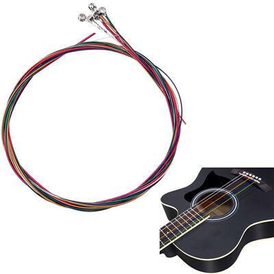 Set of 6 Replacement Steel Acoustic Guitar Strings Good Quality Colorful Supply