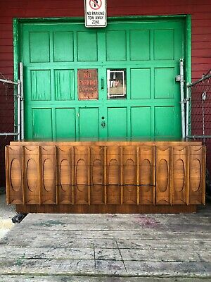 Mid Century Modern Lowboy Dresser with Sculpted Drawer Fronts