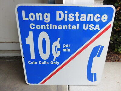Long Distance 10 Cents Per Minute Telephone Handset Sign Enamel On Metal 1970s?